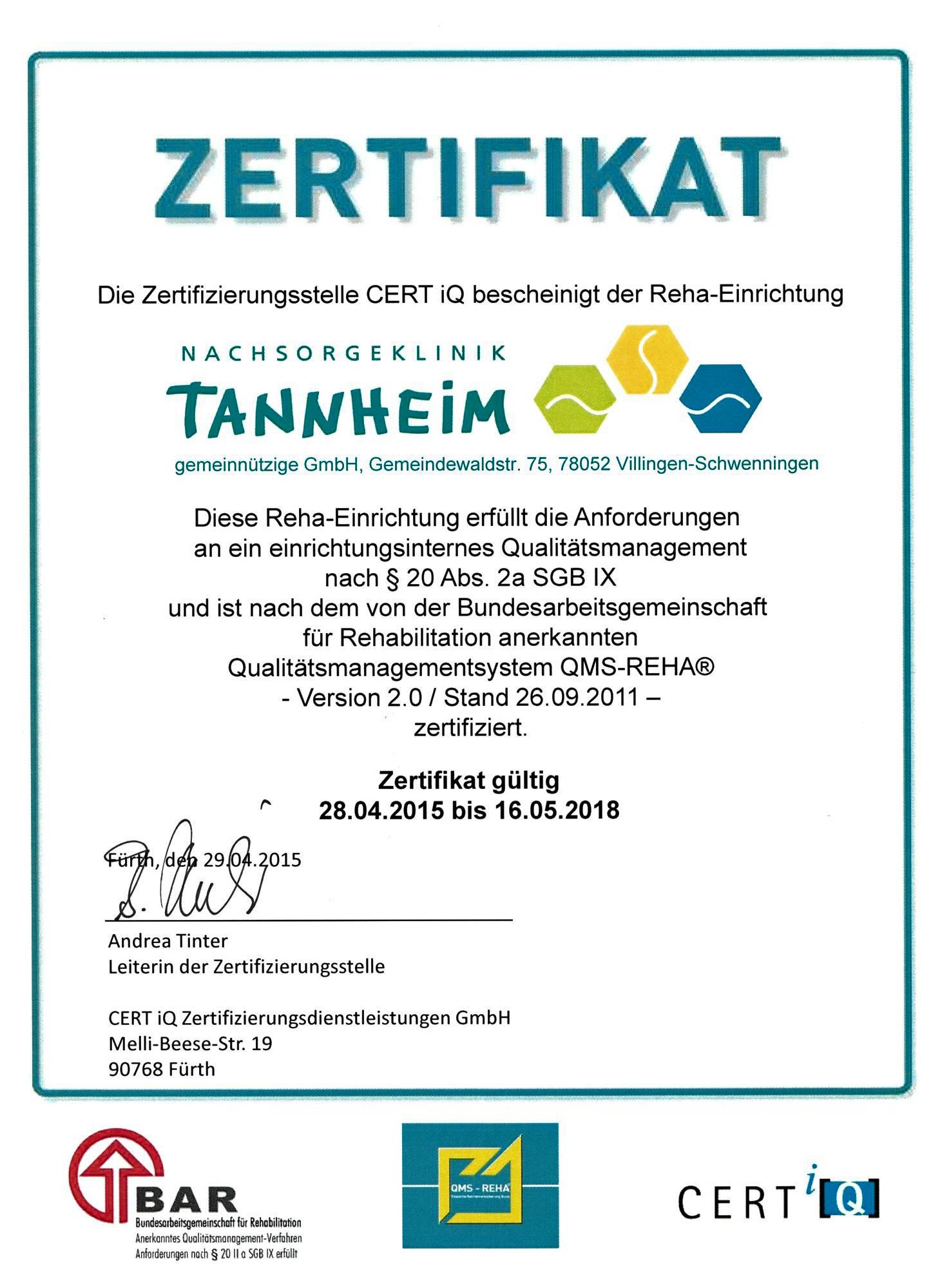 Tannheim Zertifikat